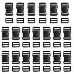 Coopay 20 Pack 1 Inch Flat Side Quick Release Plastic Buckle