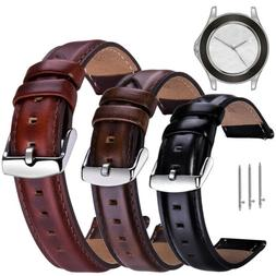 Genuine Leather Watch Band 18 20 22mm Quick Release Belt Rep