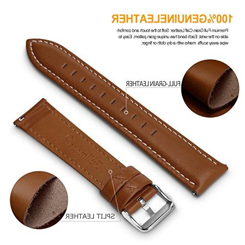 12 Colors for Release Leather Band, Fullmosa Axus Genuine Leather Watch Strap,Brown,22mm