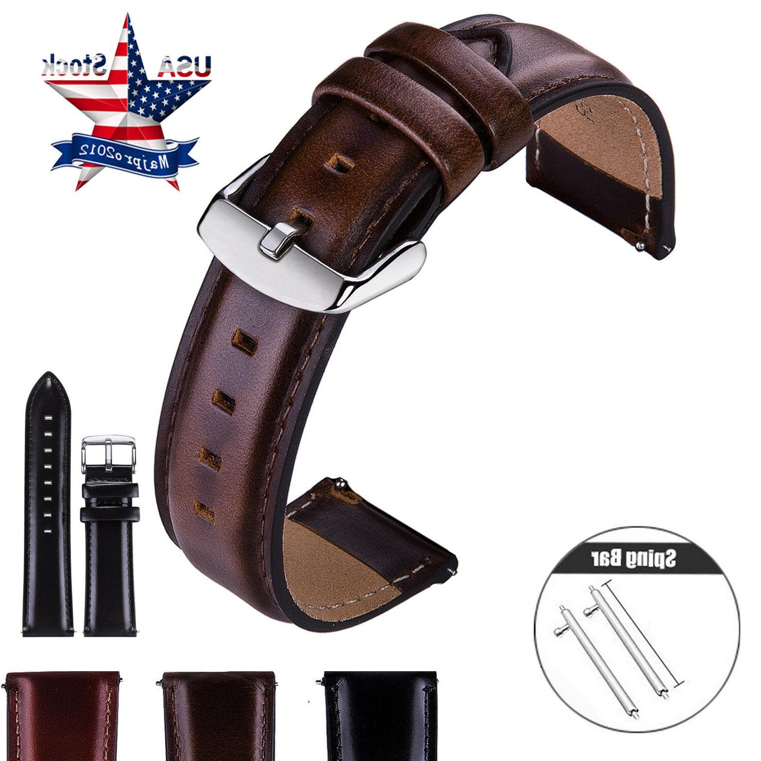 18 20 22mm quick release leather watch