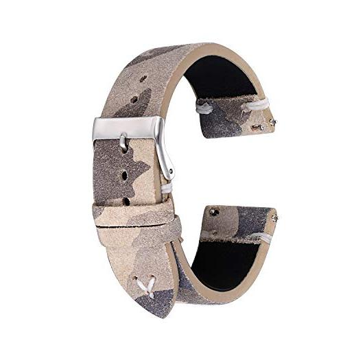 22mm Watch Strap - Cream Camo Suede Band with Quick Release