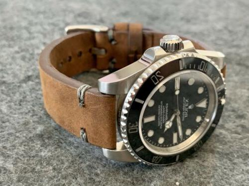 20mm brown crazy horse vintage leather watch