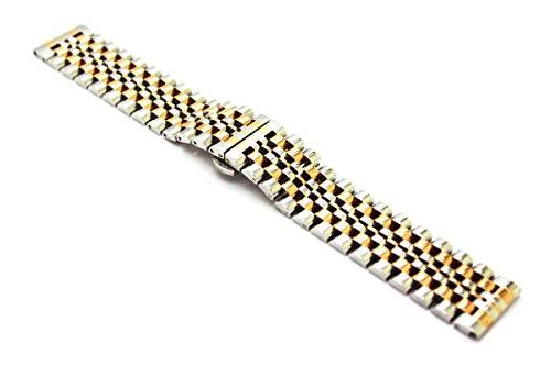 20mm Stainless Steel Bracelet Straps Watch Beads Butterfly Deployment Clasp Push Button Metal Replacement Band,Silver+Rose