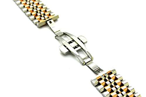 20mm Solid Steel Bracelet Straps Watch Band 7 Beads Butterfly Push Button Band,Silver+Rose Gold
