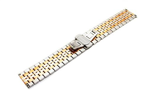 Bracelet Quick Release Watch Band 7 Beads Butterfly Clasp Push Button Band,Silver+Rose Gold