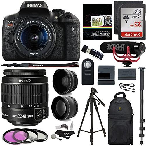 Canon EOS Rebel T6i Video Creator Kit with 18-55mm Lens + Rode Video GO  Microphone + Sandisk 32GB Class 10 + Polaroid  43x HD Wide Angle Lens +