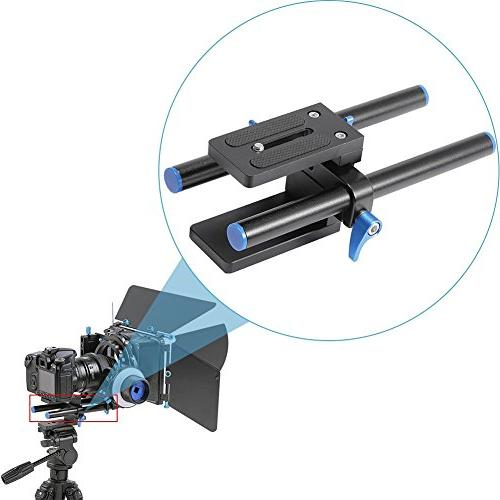 """Rail 15mm Rod Baseplate 1/4"""" Quick Follow DSLR Rig System"""