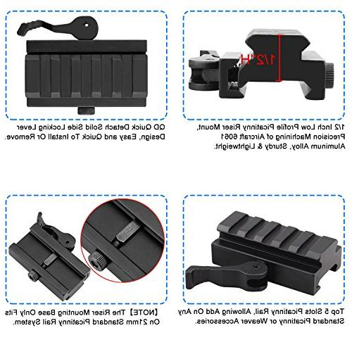 Picatinny Mount, GUNPOW 2 Pack Rail Riser Mount Adaptor with QD Quick Release Lock, Allen Wrenchs, AR15 Rifle Red Sight Scope