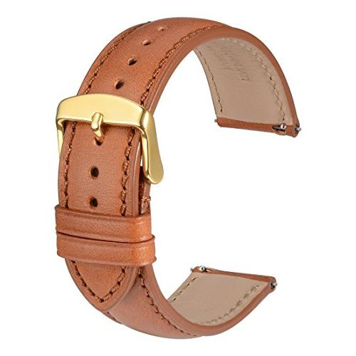 WOCCI 20mm Full Grain Leather Watch Band with Gold Buckle, Q