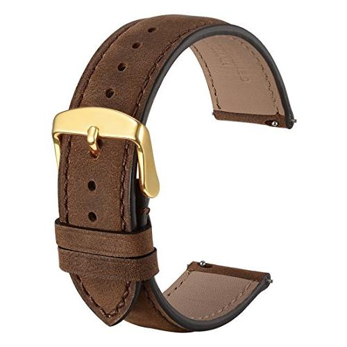 WOCCI 20mm Suede Vintage Leather Watch Band with Gold Buckle