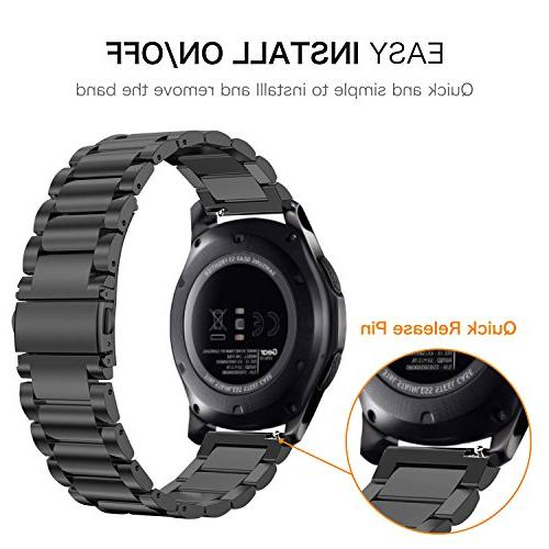Fintie Band S3 / 46mm, Release Stainless Steel Strap Gear Frontier / S3 Classic/Galaxy Smartwatch - Black