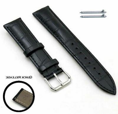 black croco quick release leather replacement watch