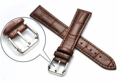 Brown Leather Watch Strap Steel Buckle 1042