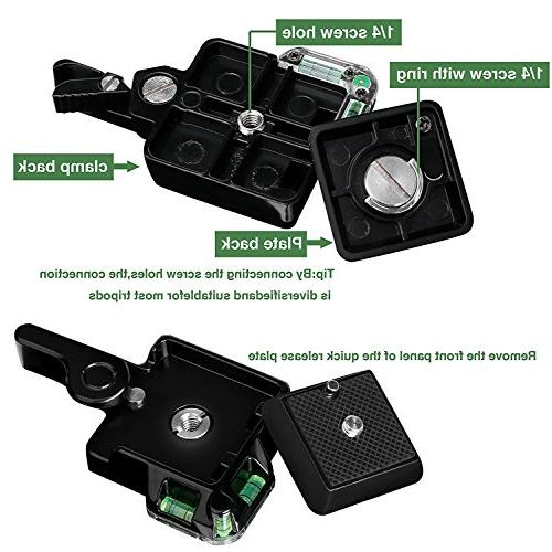 Konsait Camcorder Monopod Ball Head Quick Plate Adapter with Double Insurance Camera Ball Head