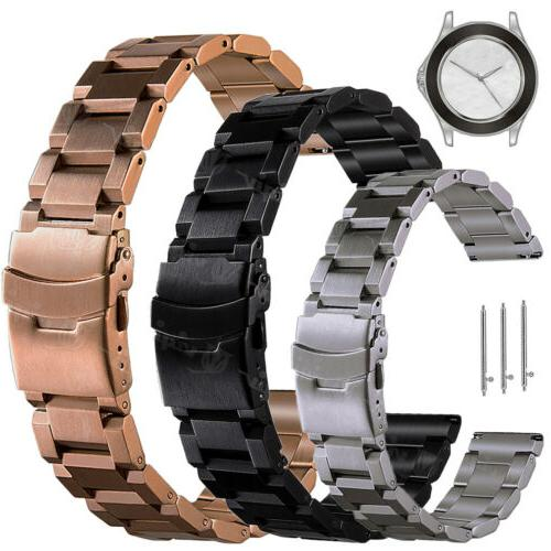 mens solid stainless steel watch band 22