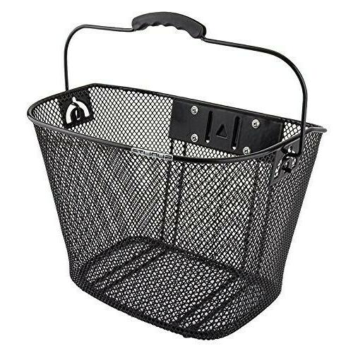mesh quick release black front bicycle basket