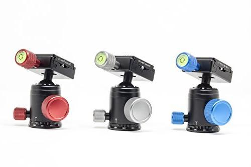 Mini Ball Head Mount with Rotating - Level - Clamp with 1/4 Plate Compact Ball for Monopod, Slider, DSLR - Max Capacity