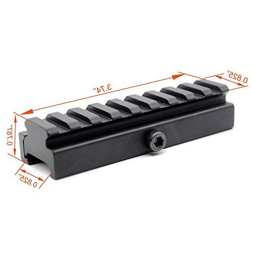 Trirock Picatinny Riser Adapter with slot Rail with detachable