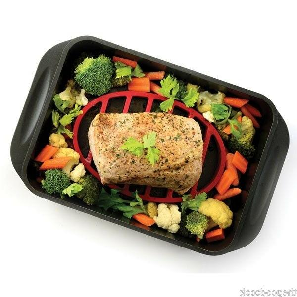 red oval silicone roasting roast