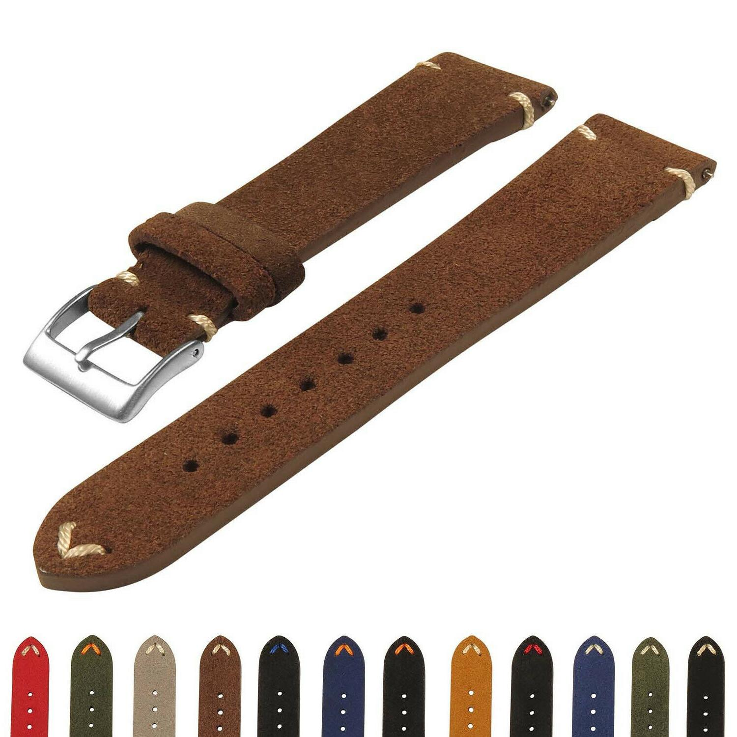 suede vintage hand stitched leather watch band