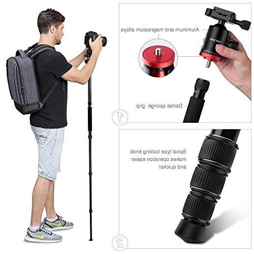 K&F Camera Tripod 66 Portable Magnesium 4 with 360 Degree Ball Head Quick Compatible with Canon Sony