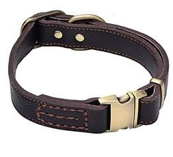 Tellpet Leather Dog Collar with Quick Release Buckle, Brown,