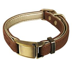 Tellpet Leather Dog Collar with Quick Release Buckle and Sof