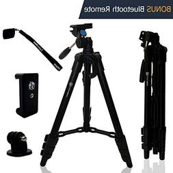 Lightweight Travel Tripod 48 Inch | Bluetooth Remote, Phone