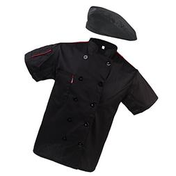 MagiDeal Fashion Beret Chef Hat Chef Coat Jacket Net Short S