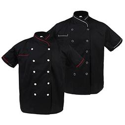 MagiDeal 2pcs Fashion Mens Chef Jacket Short Sleeve with Pen