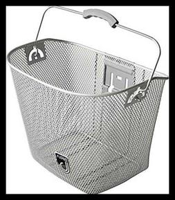 MTS Basket with Bracket Silver, Front Quick Release Basket,