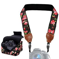 Neoprene Camera Strap and Camera Case Floral with Quick Rele
