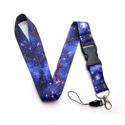Outer Space Fabric Lanyard with Quick Release Plus Two Clear