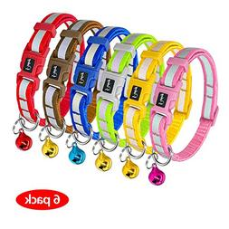 Didog 6 PCS Reflective Puppy Collars with Colorful Bells,Qui