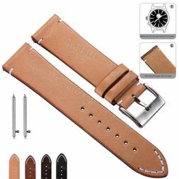 Retro Leather Watch Band 18 20 22mm Quick Release Wrist Stra