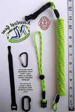 Rod Leash, Kayak Paddle Leash w/ Quick Release. Extends 9FT+