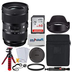 Sigma 24-35mm f/2 DG HSM Art Lens for Nikon F + 64GB Memory