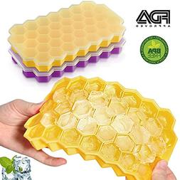 Silicone Ice Cube Trays with Lids BPA Free Easy Release Cube