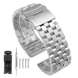 18mm Silver Quick Release Watch Band 5 Rows Brushed Stainles