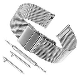 Bewish Fashion 18mm-22mm Silver Stainless Steel 0.6mm Mesh W