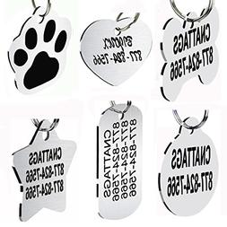 CNATTAGS Stainless Steel Pet ID Tags Dog Tags Personalized F