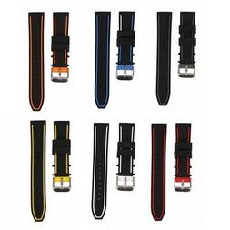 Straps Silicone Rubber Mens Waterproof Diver Watch Band - Qu