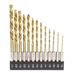 Tooluxe 10171L 13-Piece Titanium Drill Bit Set, High Speed S