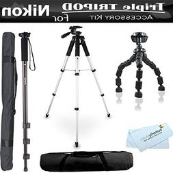 Triple Tripod accessory Bundle Kit For Nikon Coolpix P600, P