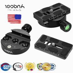 Andoer Tripod Head Disc Clamp Adapter Quick Release Plate fo