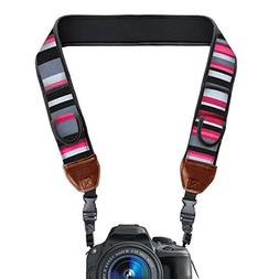 TrueSHOT Camera Strap with Pink Stripe Neoprene Pattern and