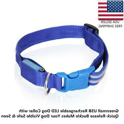 Greenmall USB Rechargeable LED Dog Collar Quick-Release Buck