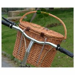 Vintage Wicker Woven Bicycle Front Basket Quick release Hand
