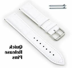 White Croco Quick Release Leather Replacement Watch Band Str